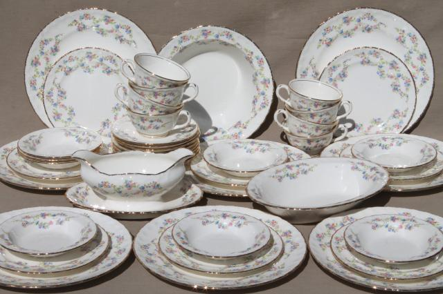 1940s Vintage China Dishes Blue Belle Forget Me Not Fl Dinnerware Set For 8