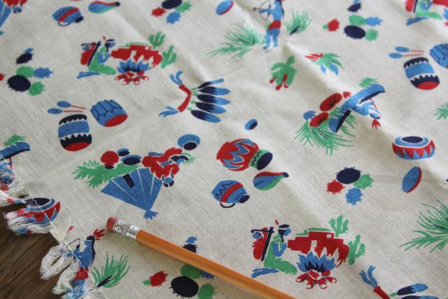 1940s vintage cotton feed sack fabric Native American Indian print, very retro!