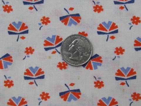 1940's vintage cotton feed sack fabric, art deco flowers print