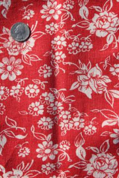1940s vintage cotton feed sack fabric, floral print white flowers on red