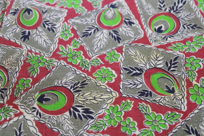 1940s vintage cotton feed sack fabric, hankies print in mauve, grey, bright green
