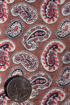 1940s vintage cotton feed sack fabric, paisley print coral pink & tan