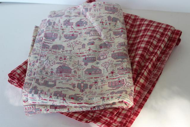1940s vintage cotton feed sack fabric, red plaid, country barn print - farmhouse pillowcases
