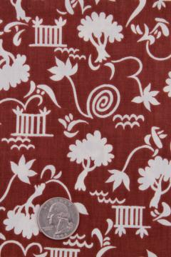 1940s vintage cotton print fabric, brown & white dress / skirt material, tree in a garden