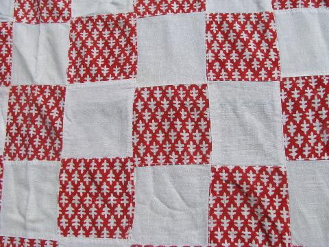 1940s vintage cotton print feedsack fabric red & white patchwork bed cover