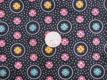 1940s vintage cotton print quilting fabric, dots & flowers on black