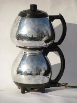 1940s vintage deco chrome / stainless Sunbeam electric percolator coffee pot