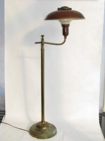 1940s Vintage Deep Red Tole Floor Lamp W Metal Helmet