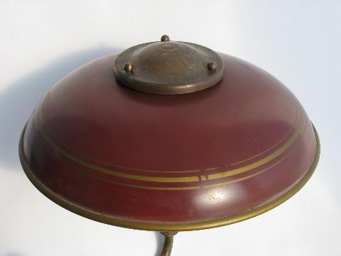 1940s Vintage Deep Red Tole Floor Lamp W Metal Helmet