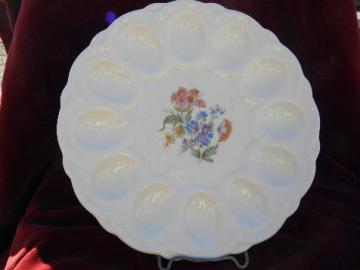 1940s vintage divided egg plate, ivory china w/ flowered center