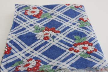 1940s vintage feed sack fabric, red, white, blue flowered print cotton