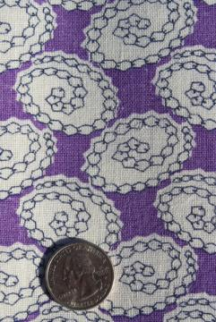 1940s vintage feed sack fabric, violet purple printed cotton material