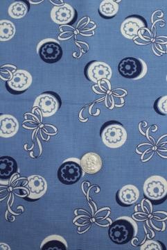 1940s vintage feed sack type cotton fabric 38 wide, buttons & bows print on blue