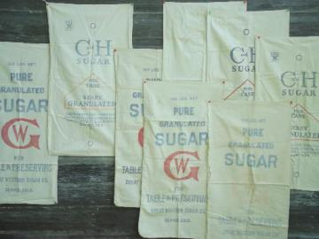 1940s vintage feedsacks w/ print advertising, heavy cotton sugar sack lot