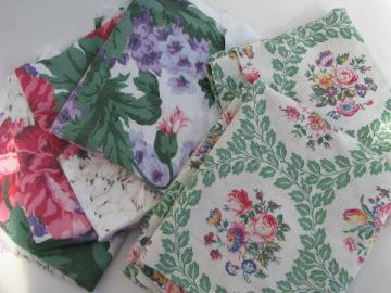 1940s vintage floral print cotton fabric lot, rose prints w/ green
