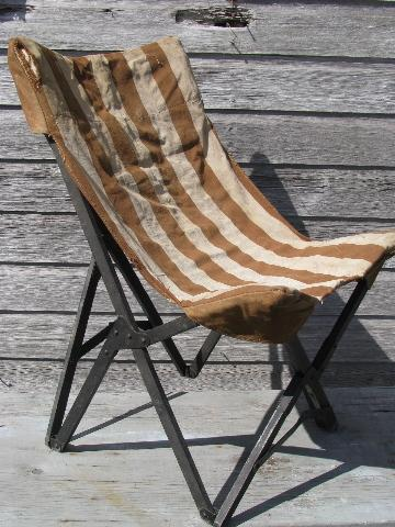 1940s vintage folding camp or beach chair w/ old striped ...
