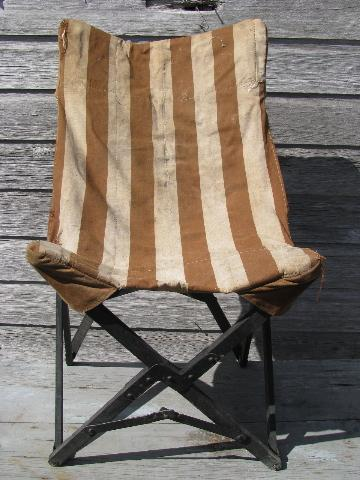 & 1940s vintage folding camp or beach chair w/ old striped cotton seat