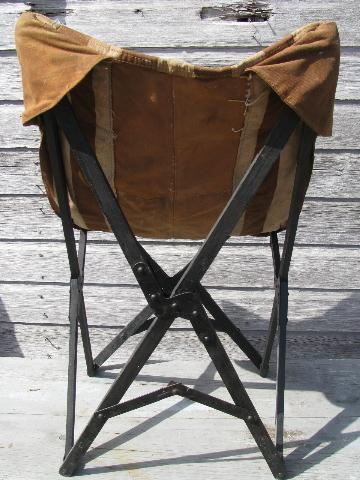 1940s Vintage Folding Camp Or Beach Chair W Old Striped