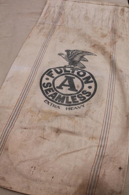 1940s Vintage Grain Sacks Canvas Weight Cotton Feed Bags