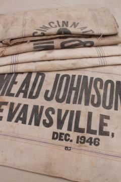 1940s vintage grain sacks, canvas weight cotton feed bags, Fulton Cincinnati Evansville Indiana