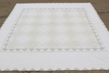 1940s vintage hand stitched patchwork quilt, rustic modern pale whitewash colors
