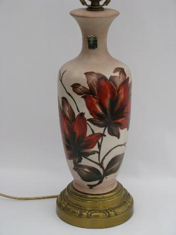 antique hand painted lamps 1940s vintage hand painted tropical flowers china lamp, original label antique hand painted lamps