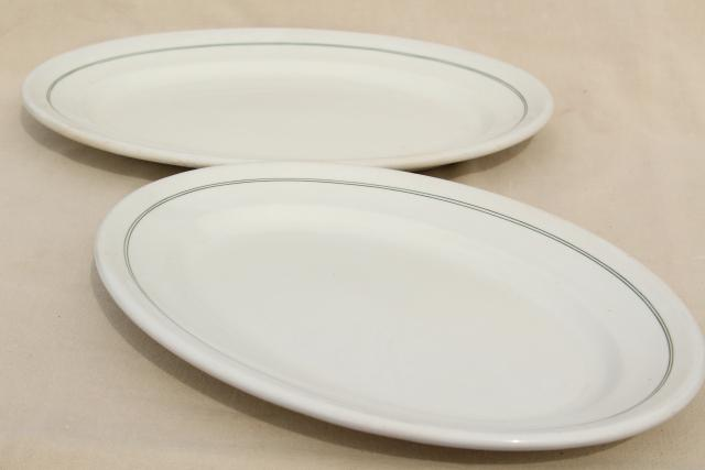 1940s vintage ironstone platters, motel hotel ware restaurant china oval plates