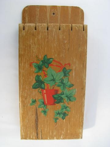 1940s vintage ivy decal wall-mount wood knife rack for kitchen knives