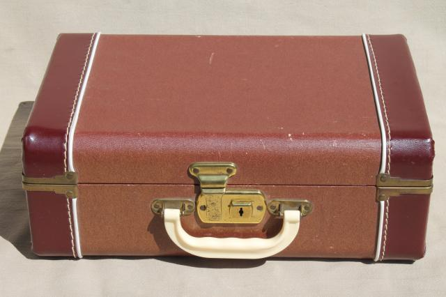1940s Vintage Luggage Small Suitcase Train Case For