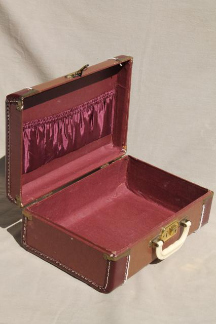 vintage luggage, small suitcase train case for storage or travel