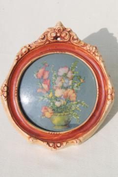 1940s vintage miniature floral picture, convex bubble glass chalkware frame