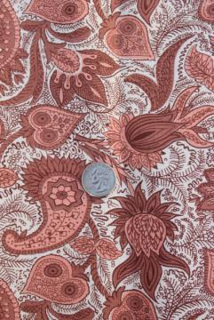 1940s vintage paisley print material, printed cotton feed sack fabric