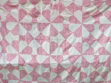 1940s vintage patchwork quilt top, old cotton prints, pink w/ cherries