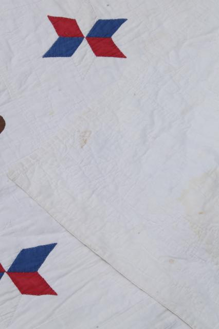 1940s vintage patriotic American eagle quilt, red white blue cotton hand stitched applique quilt