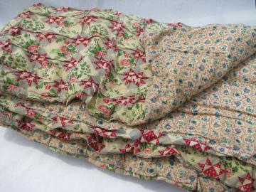 1940's vintage pieced patchwork print cotton comforter, hand-tied quilt