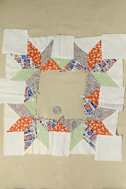 1940s vintage pieced star patchwork quilt blocks, great old prints & unbleached cotton fabric