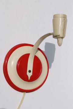 1940s vintage pin up wall sconce lamp or reading light, retro red bullseye