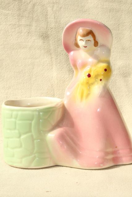 1940s vintage pottery planter, southern belle lady in pink wide brimmed picture hat