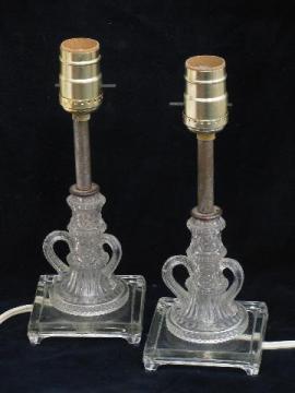 1940s vintage pressed glass boudoir lamps, pair vanity table lights