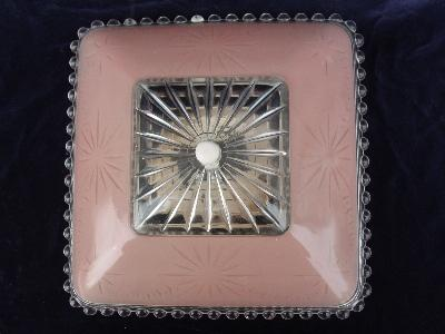 1940's vintage pressed glass ceiling light pink shade