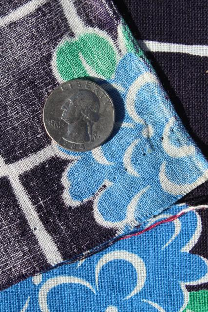 1940s vintage print cotton feed sack fabric, flowers on midnight blue black