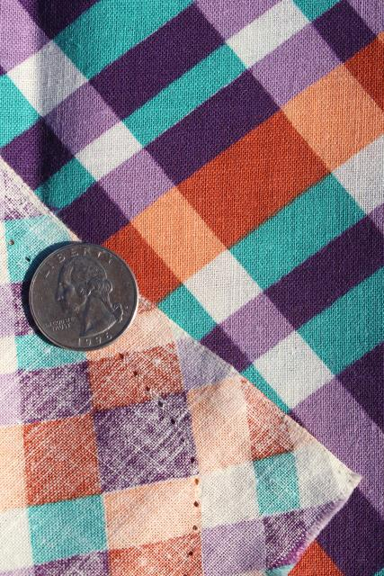 1940s vintage print cotton plaid feed sack fabric, purple / orange / green
