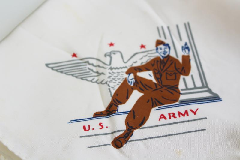 1940s vintage print rayon handkerchiefs, WWII soldier US Army souvenir gift hankies