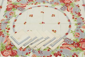 1940s vintage printed cotton kitchen tablecloth & napkins, Wilendur fruit print