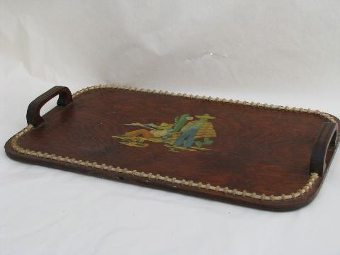 1940s vintage rope edged wood serving tray, Mexican cactus theme decal