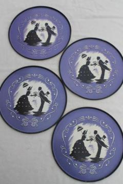 1940s vintage round metal serving trays, silhouettes print in black on lavender
