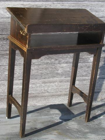 1940s vintage slant top library table, dictionary or reference book stand