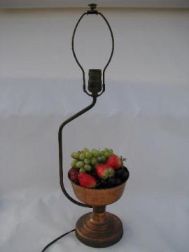 1940s vintage solid copper banquet lamp for sideboard, fruit centerpiece bowl