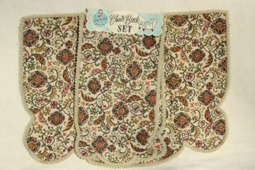 1940s vintage tapestry print fabric chair set, unused w/ original label