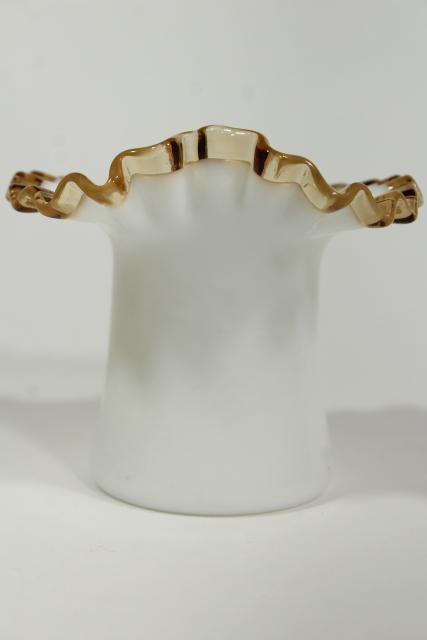 1940s vintage top hat vase, Gold Crest Fenton milk glass w/ amber trim